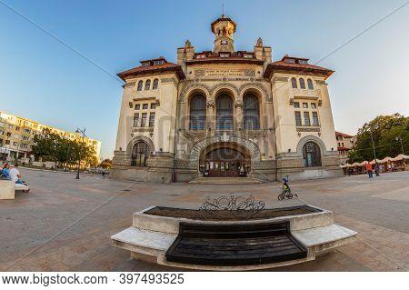 Constanta, Romania - July 15, 2020: Ovidiu Square In The Historic Center. The Central Building Is Th