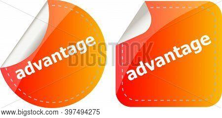 Advantage Word Stickers Set Isolated On White, Icon Button