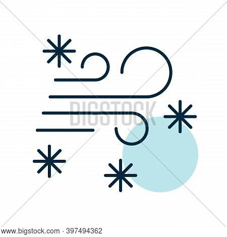 Wind Snow Snowstorm Vector Icon. Winter Sign. Graph Symbol For Travel And Tourism Web Site And Apps
