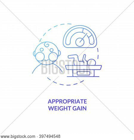 Appropriate Weight Gain Concept Icon. Breastfeeding Pros. Getting More Calories In Every Meal. Gaini