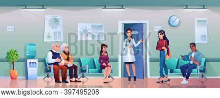 Hospital Hallway With Doctors, Patients On Chairs Waiting In Queue, People Wait On Appointment With