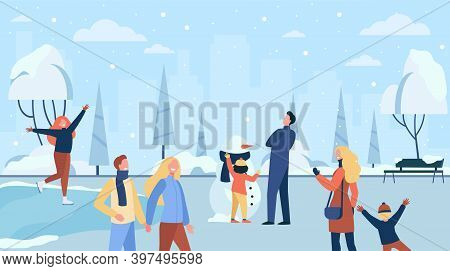 Happy People Walking In Cold Winter Park Isolated Flat Vector Illustration. Cartoon Characters Ice S