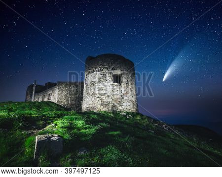 Fantastic starry sky over the old Polish observatory on Mount Pip Ivan. Location Carpathian mountains, Ukraine, Europe. Popular touristic place. Long exposure shot. Discover the beauty of earth.