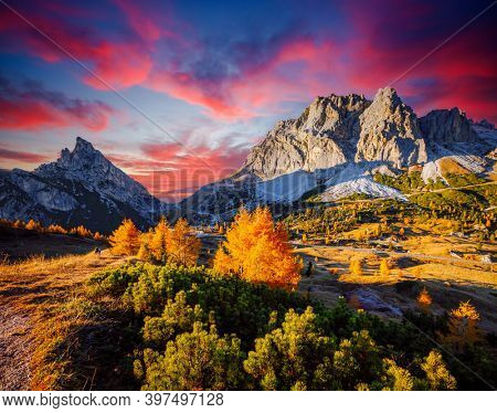 Attractive view of the Mt. Sass de Stria from Falzarego pass. Location Cortina d'Ampezzo, Dolomiti, South Tyrol, Italy, Europe. Picturesque nature photography. Discover the beauty of earth.