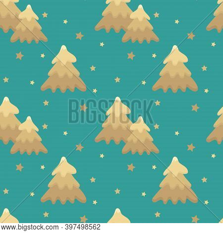 Seamless Christmas Pattern With Christmas Trees And Stars Of Gold Color On A Turquoise Background. F