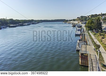 Belgrade, Serbia - August 12, 2019: Panorama From Sava River To Old Town (stari Grad) Of City Of Bel