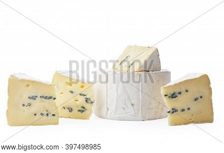 Camembert Moldy Cheese Isolated On White Background. Mixture Of Camembert Brie And Blue Mold.