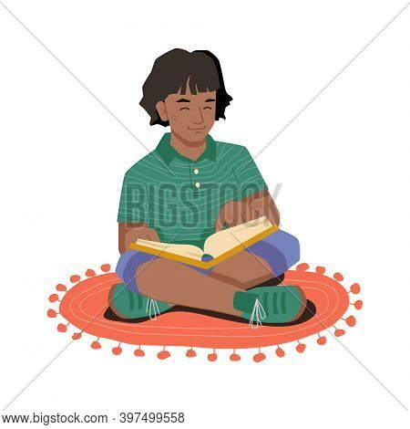 Young Girl In Lotus Position Sitting On Carpet At Floor And Reading Book. Vector Afro American Girl