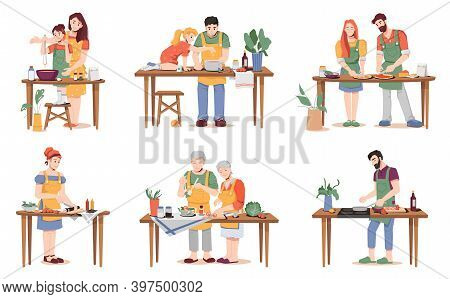 People Cook Different Dishes At Table Isolated. Vector Parents Mum And Dad Teaching Daughter And Son