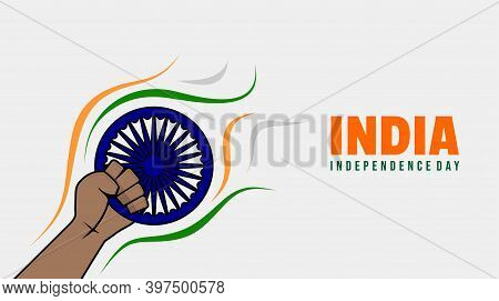 India Independence Day Design With Gripping Hand The Ashoka Disc. Good Template For India National D
