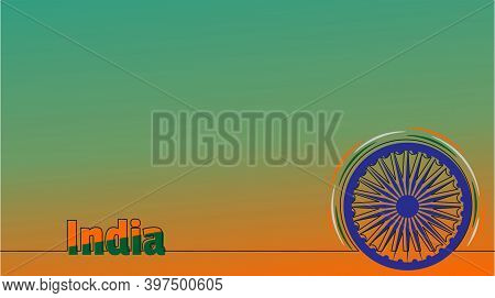 Wallpaper Background With Ashoka Chakra Design. Good Template For India National Day Design.