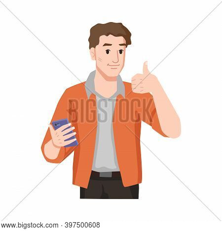Man With Thumb Up Likes Smartphone Isolated Male Person In Casual Cloth Showing Approval Gesture To