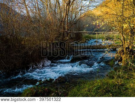 A Small Wild River In Nature In Mid-autumn, With Plenty Of Greenery