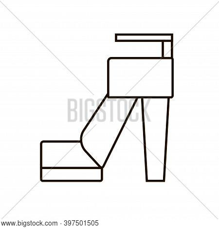 Fashion High-heeled Shue Line Illustration Isolated On White Background. Simple Footwear Icon.