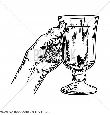 Female Hand Holding A Glass Of Mulled Wine. Vintage Black Vector Engraving Illustration Isolated On