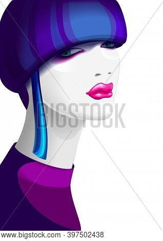 A Glamour Woman With A Stylish Short Blue-purple Colored Mushroom Hairstyle. She Has Smokey Eyes And