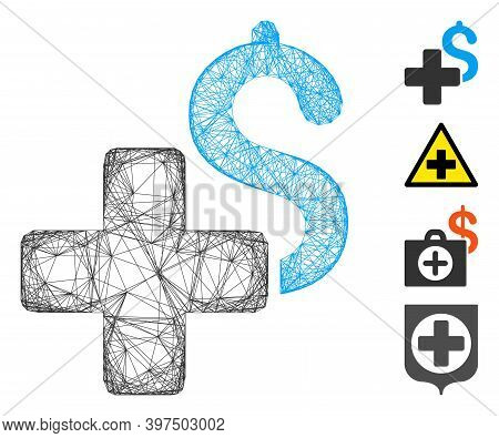 Vector Network Add Dollar. Geometric Wire Carcass 2d Network Made From Add Dollar Icon, Designed Fro