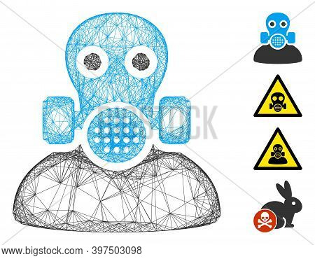Vector Net Toxic Work. Geometric Linear Frame Flat Net Made From Toxic Work Icon, Designed From Inte
