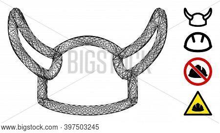 Vector Wire Frame Viking Helmet. Geometric Wire Frame Flat Net Made From Viking Helmet Icon, Designe