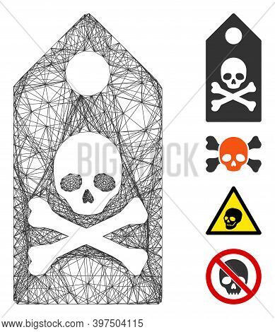 Vector Net Death Mark. Geometric Linear Frame Flat Net Generated With Death Mark Icon, Designed With