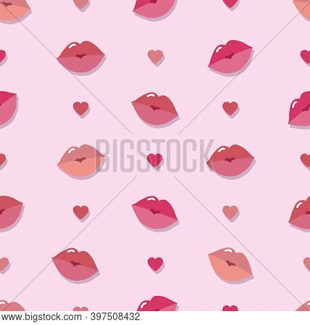 Seamless Lips Pattern On Pink Background. Lips, Mouth, Hearts Vector Illustration. Pattern For Wrapp