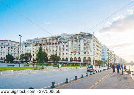 THESSALONIKI, GREECE - November 30, 2019: Street view of Modern architecture in Thessaloniki city, Greece