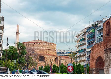 THESSALONIKI, GREECE - November 30, 2019: Traditional Cathedral building in Thessaloniki, Greece