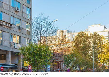 THESSALONIKI, GREECE - November 30, 2019: Street view of city center in Thessaloniki, Greece