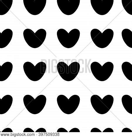 Hand-drawn Pattern Of Black Hearts On A White Background. Vector Isolated Illustration On White Back