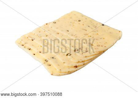 Slice Of Spiced Cheese Black Pepper With Peas Isolated On A White Background.