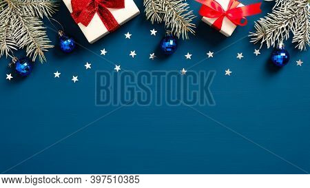 Christmas And New Year Banner With Fir Branches, White Gift Boxes With Red Ribbon Bows And Christmas