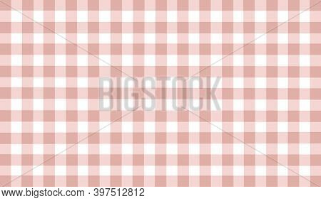 Pastel Brown White Beige Vintage Checkered Background. Space For Graphic Design. Checkered Texture.