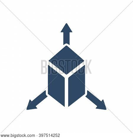 Cube With Arrows Out Icon. Three Dimension Sign. 3d Symbol. Flat Icon Design.