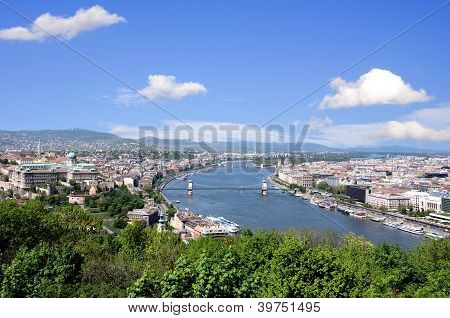 skyline of budapest and river danube in summer poster