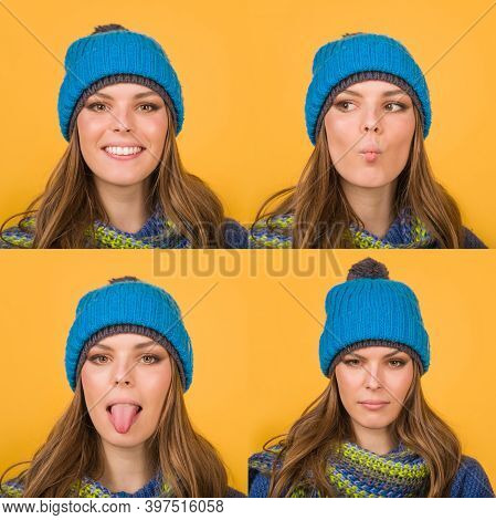 Emotion Set Of Woman In Warm Hat. Autumn Clothes. Winter Outfit. Mood. Different Emotions. Collage O