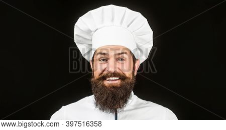 Male Chefs Isolated On Black. Funny Chef With Beard Cook. Beard Man And Moustache Wearing Bib Apron.