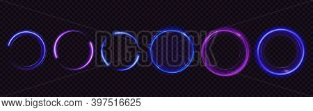 Glow Circles With Sparkles, Magic Light Effect. Vector Realistic Set Of Blue And Purple Shiny Rings
