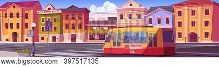 City Street With Houses, Tram And Empty Car Road With Pedestrian Crosswalk. Vector Cartoon Cityscape