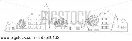 Small Town Silhouette Cutout Skyline With Chapel Houses Trees Black Contour Isolated. Flat Vector Ca