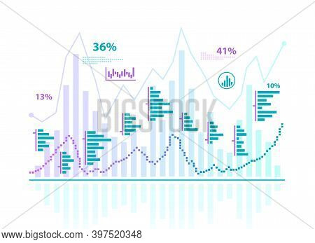 Business Chart And Statistic Of Investment Trading In Stock Market. Business And Trading Concept. Ve