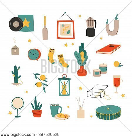 Hygge Decor Things. Winter Holiday Decor Set. Candle, Socks, Candle And Xmas Home Symbols, Cartoon V