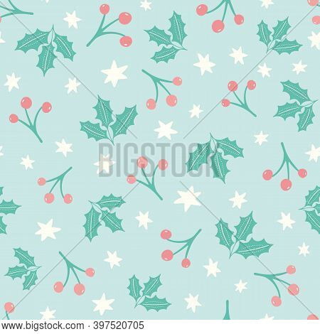 Christmas Holly And Berry Pattern Background. Cute Seasonal Vector Seamless Repeat Hand Drawn Illust