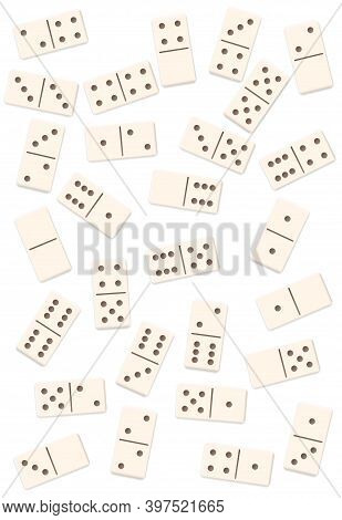 Scattered Dominos, Shuffled, Mixed Up, Loosely Arranged Messy Set Of 28 White Tiles. Isolated Vector