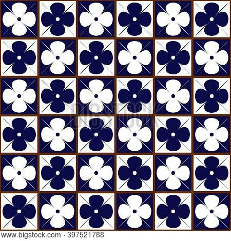 Ethnic Ceramic Tiles Seamless Pattern. Blue And White Azulejo Tiles. Patchwork Decor. Vector Ornamen