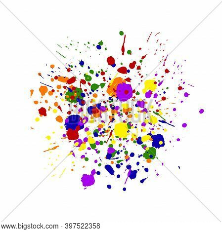 Abstract Dot Splash. Rainbow Messy Hand Drawn Drip Points Isolated On White Background. Brush Stroke