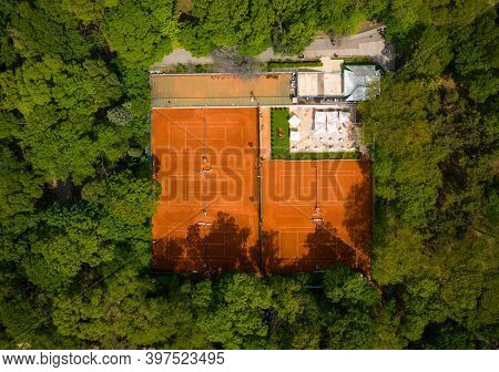Tennis Clay Court. View From The Drone Flight. Drone Photography!