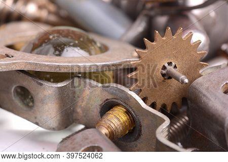 Old Vintage Metal Detail Set Close Up