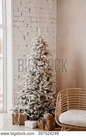 Warm Cozy Beautiful Modern Design Of The Room In Delicate Light Colors Decorated With Christmas Tree