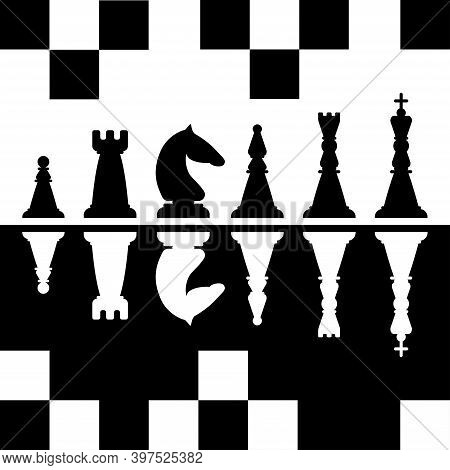 Black And White Chess Pieces. King, Queen, Bishop, Knight, Castle, Pawn. Vector Illustration.