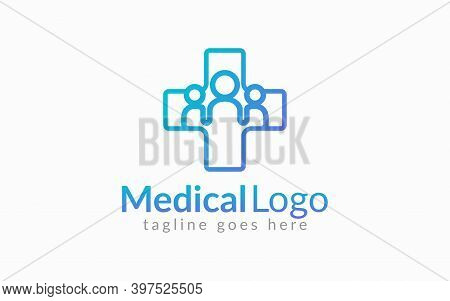 Medical Healthcare Logo Design. Medical Cross Line Symbol Shape Combine With Three People Shape Insi